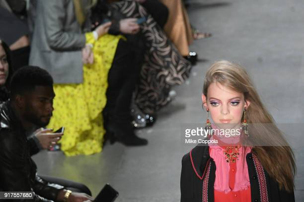 A models walks the runway at the Anna Sui runway show during IMG NYFW The Shows at Spring Studios on February 12 2018 in New York City