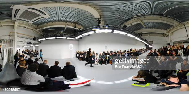 Models walks the runway at the Astrid Andersen show during The London Collections Men Autumn/Winter 2014 at Victoria House on January 6 2014 in...