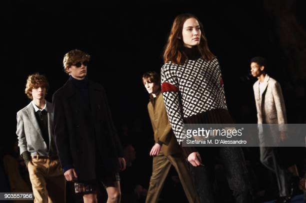 Models walks the runway at the Brooks Brothers show during the 93 Pitti Immagine Uomo at Fortezza Da Basso on January 10 2018 in Florence Italy