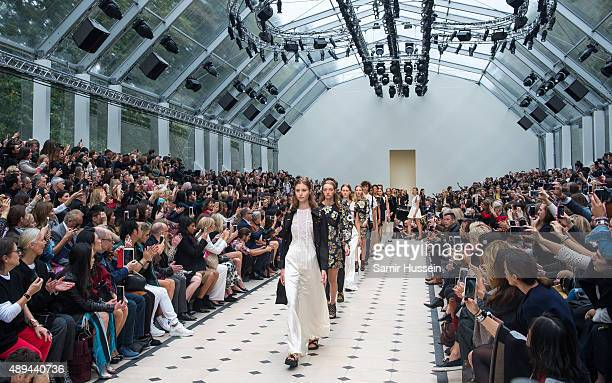 Models walks the runway at the Burberry Prorsum show during London Fashion Week Spring/Summer 2016 on September 21 2015 in London England