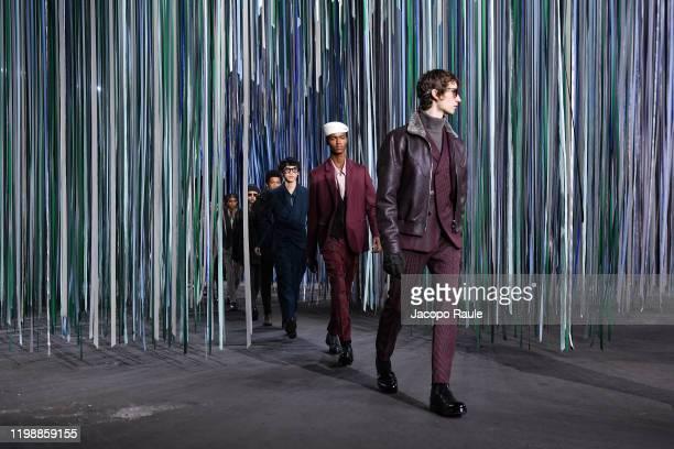 Models walks the runway at the Ermenegildo Zegna fashion show on January 10, 2020 in Milan, Italy.