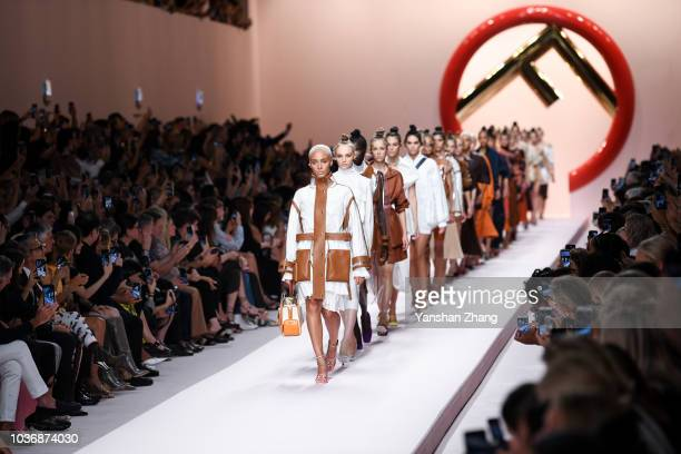 Models walks the runway at the Fendi show during Milan Fashion Week Spring/Summer 2019 on September 20 2018 in Milan Italy