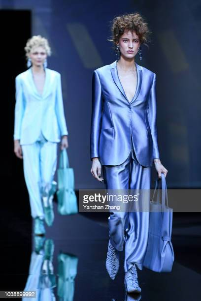 Models walks the runway at the Giorgio Armani show during Milan Fashion Week Spring/Summer 2019 on September 23 2018 in Milan Italy