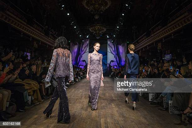 Models walks the runway at the Ida Sjostedt show during the Stockholm Fashion Week Autumn/Winter 2017 at Berns on January 30 2017 in Stockholm Sweden