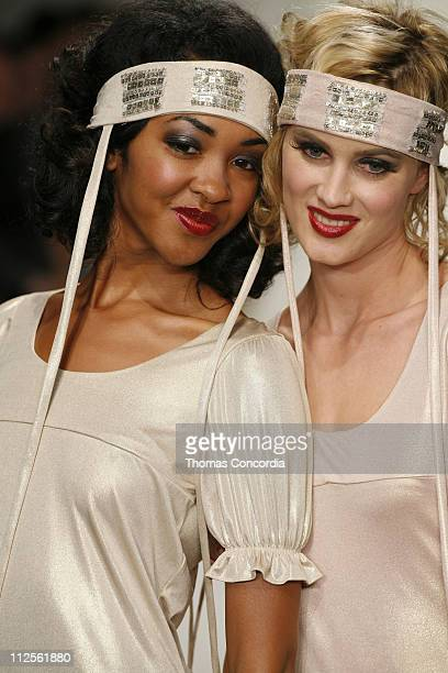 Models walks the runway at the Jenny Han Spring 2008 fashion show during Mercedes Benz Fashion Week held at Smashbox Studios on October 16 2007 in...