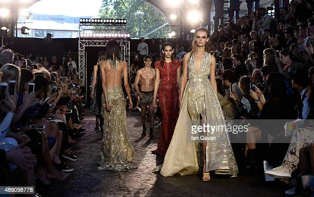 Models walks the runway at the Julien Macdonald show during London Fashion Week Spring/Summer 2016 on September 19 2015 in London England