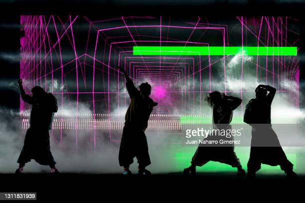 Models walks the runway at the Maison Mesa fashion show during Mercedes Benz Fashion Week Madrid April 2021 at Ifema on April 10, 2021 in Madrid,...