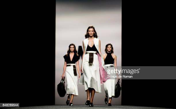 Models walks the runway at the Marcos Luengo show during the MercedesBenz Fashion Week Madrid Spring/Summer 2018 at Ifema on September 17 2017 in...
