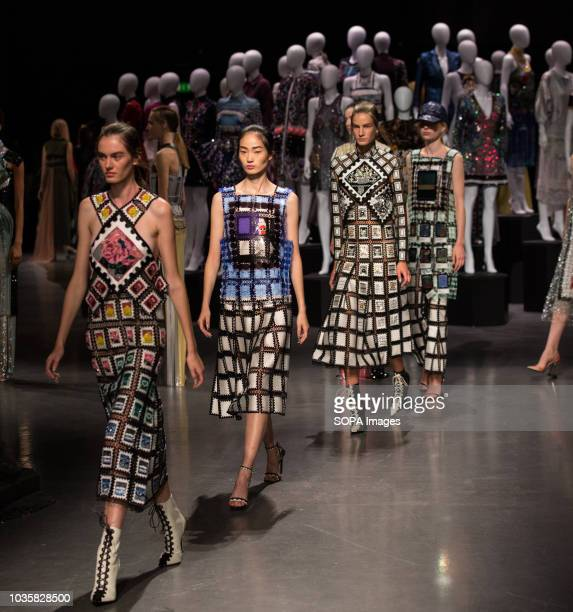 Models walks the runway at the Mary Katrantzou show during London Fashion Week Mary Katrantzou established her namesake brand in 2008 after studying...