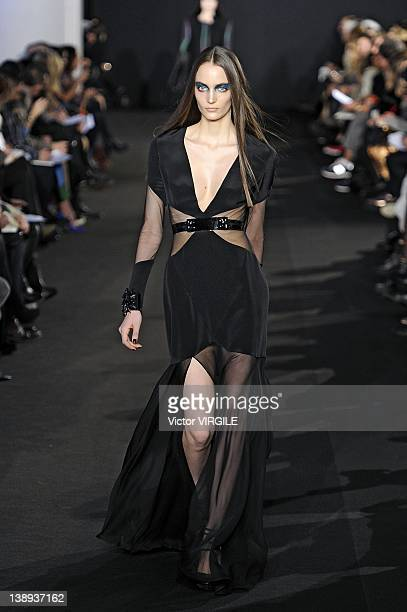 Models walks the runway at the Prabal Gurung fall 2012 fashion show during Mercedes-Benz Fashion Week at IAC Building on February 11, 2012 in New...
