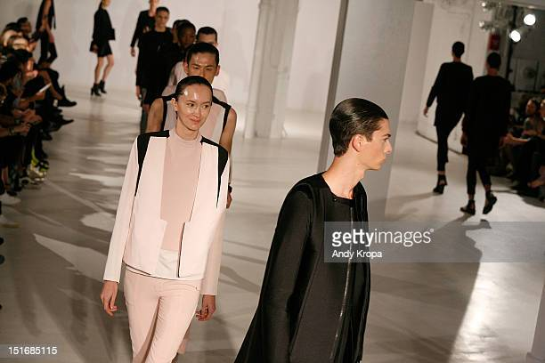 Models walks the runway at the Rad by Rad Hourani Unisex Collection spring 2013 fashion show during MercedesBenz Fashion Week at the Studio 450 on...