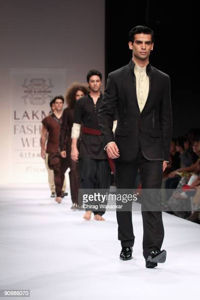 Models walks the runway at the Rohit Abhishek show at Lakme Fashion Week Spring/Summer 2010 held at Hotel Grand Hyatt on September 20 2009 in Mumbai...