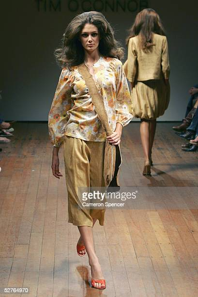 Models walks the runway at the Tim O Connor collection presentation at the Billich Gallery during the Mercedes Australian Fashion Week May 6, 2005 in...