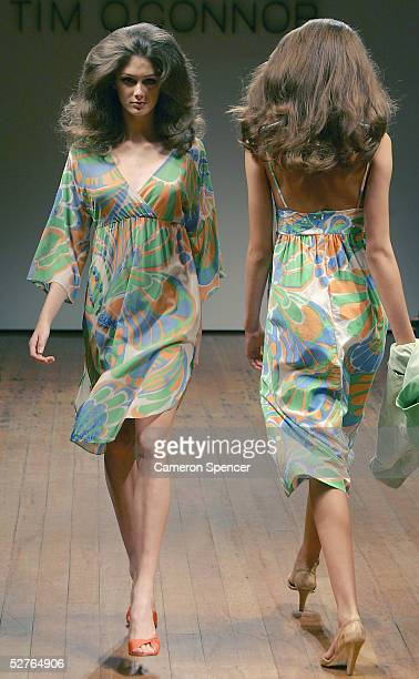 Models walks the runway at the Tim O'Connor collection presentation at the Billich Gallery during the Mercedes Australian Fashion Week May 6, 2005 in...