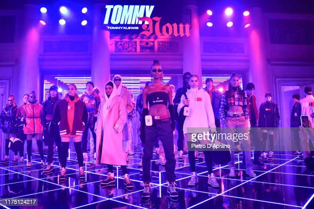 Models walks the runway at the Tommy Hilfiger presentation in Milan during the Milan Fashion Week Spring/Summer 2020 on September 16 2019 in Milan...