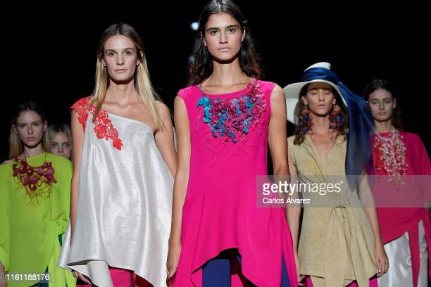 Models walks the runway at the Ulises Merida fashion show during the Mercedes Benz Fashion Week Spring/Summer 2020 at Ifema on July 10, 2019 in...