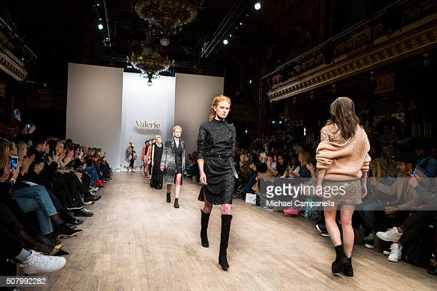 Models walks the runway at the Valerie show during Stockholm Fashion Week at Berns Hotel on February 2 2016 in Stockholm Sweden