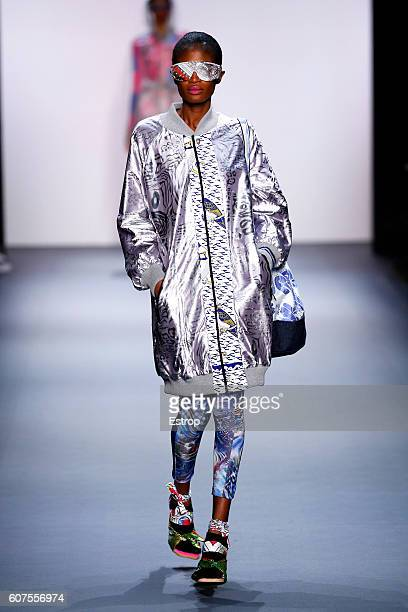 A models walks the runway at the Xuly Bet show designed by Lamine Badian Kouyaté at The Dock Skylight at Moynihan Station on September 14 2016 in New...
