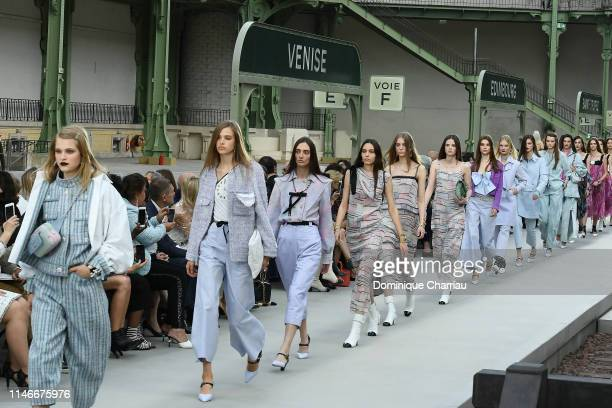 Models walks the runway during Chanel Cruise 2020 Collection at Le Grand Palais on May 03 2019 in Paris France