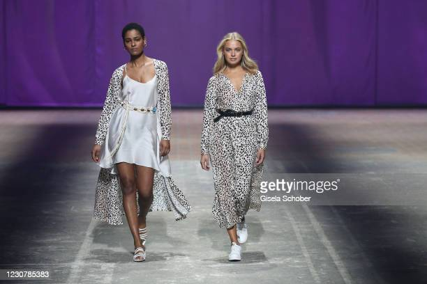 Models walks the runway during the About You Fashion Week, AYFW, Lascana show production at Kraftwerk on January 24, 2021 in Berlin, Germany.