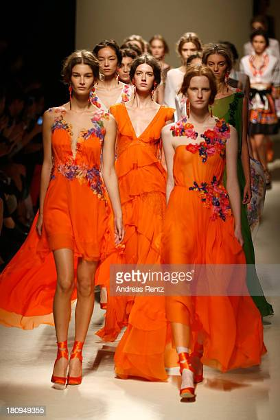 Models walks the runway during the Alberta Ferretti show as a part of Milan Fashion Week Womenswear Spring/Summer 2014 on September 18 2013 in Milan...