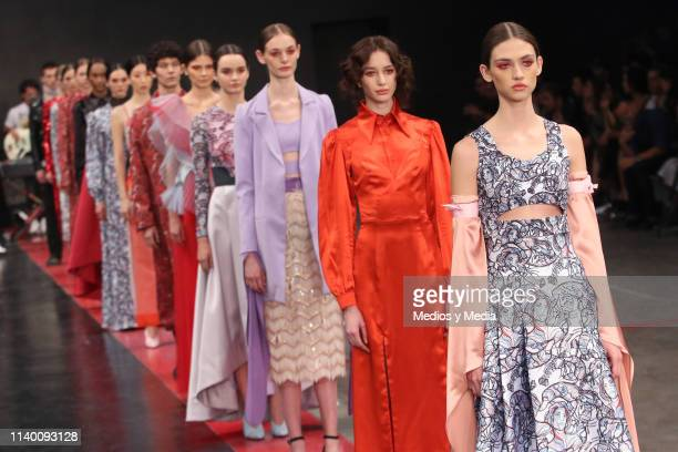 Models walks the runway during the Alexia Ulibarri show as part of the MercedesBenz Fashion Week Mexico Fall/Winter 2019 Day 2 at Fronton Mexico on...