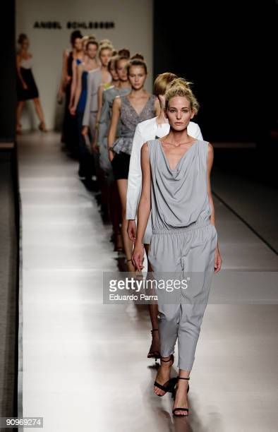 Models walks the runway during the Angel Schlesser show part of the Cibeles Madrid Fashion Week Spring/Summer 2010 at Pasarela Cibeles on September...