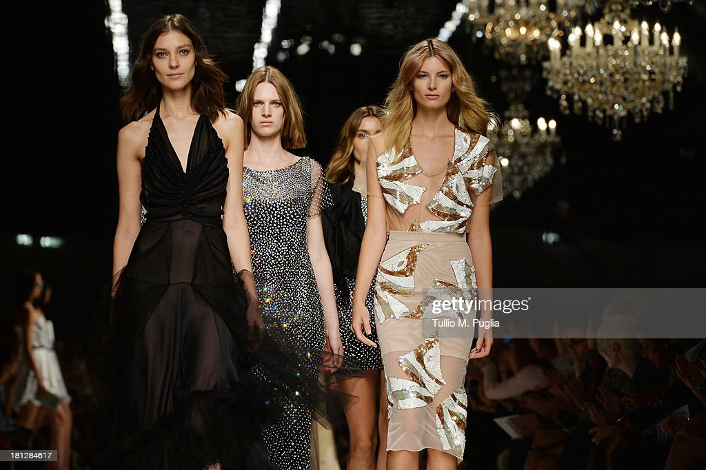 Models walks the runway during the Blumarine show as a part of Milan Fashion Week Womenswear Spring/Summer 2014 on September 20, 2013 in Milan, Italy.