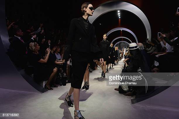 Models walks the runway during the Christian Dior show as part of the Paris Fashion Week Womenswear Fall/Winter 2016/2017 on March 4 2016 in Paris...