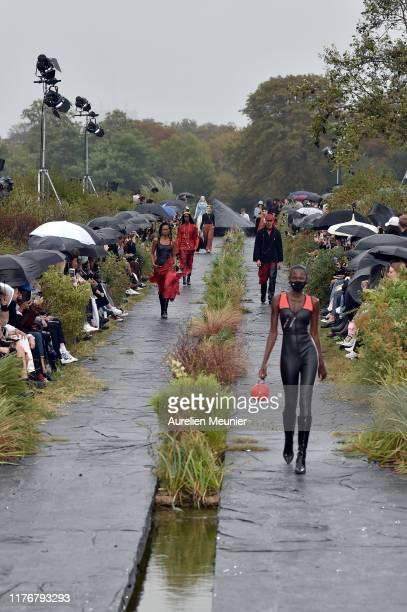 Models walks the runway during the Marine Serre Womenswear Spring/Summer 2020 show as part of Paris Fashion Week on September 24, 2019 in Paris,...