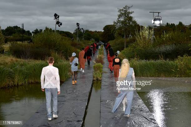 Models walks the runway during the Marine Serre Womenswear Spring/Summer 2020 show as part of Paris Fashion Week on September 24 2019 in Paris France