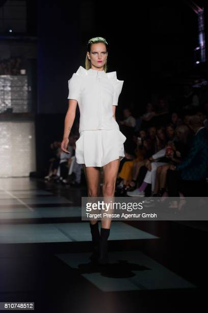 A models walks the runway during the MICHALSKY StyleNite during the MercedesBenz Fashion Week Berlin Spring/Summer 2018 at eWerk on July 7 2017 in...