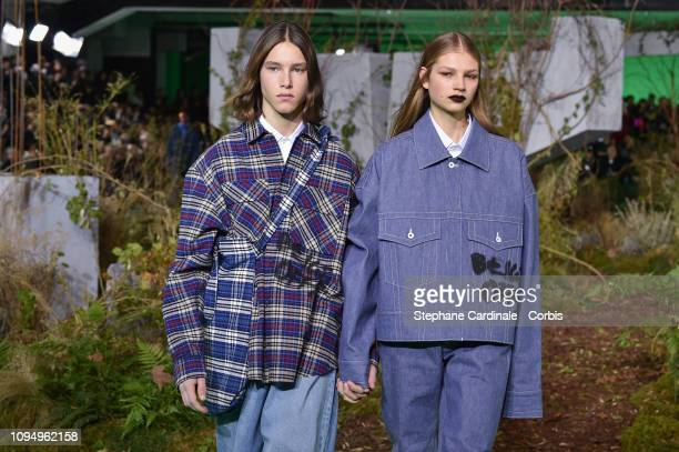 Models walks the runway during the OffWhite Menswear Fall Winter 2019/2020 show as part of Paris Fashion Week on January 16 2019 in Paris France