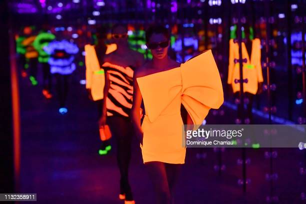 Models walks the runway during the Saint Laurent show as part of the Paris Fashion Week Womenswear Fall/Winter 2019/2020 on February 26, 2019 in...