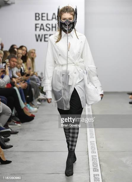 A models walks the runway during the T Efremova fashion show at Belarus Fashion Week Spring/Summer 2020 on October 19 2019 in Minsk Belarus