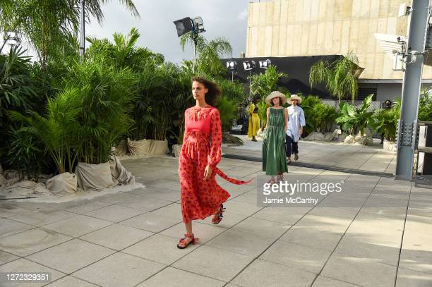 Models walks the runway for Jason Wu - September 2020 during New York Fashion Week: The Shows at Spring Studios Terrace on September 13, 2020 in New...