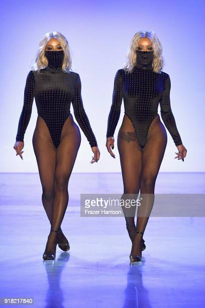 Models walks the runway for Laquan Smith during New York Fashion Week The Shows at Gallery I at Spring Studios on February 14 2018 in New York City
