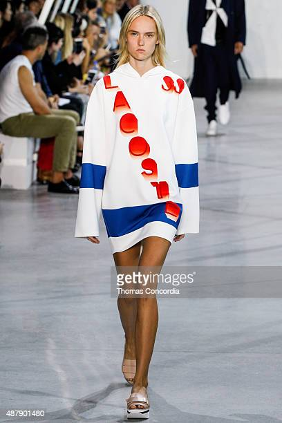 A models walks the runway wearing Lacoste Spring 2016 during New York Fashion Week at Spring Studios on September 12 2015 in New York City