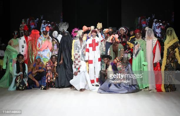 Models walks the runway wearing Maison Artc during Arise Fashion Week on April 20, 2019 in Lagos, Nigeria.