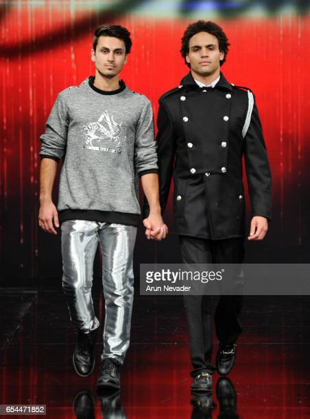Models walks the runway wearing Stello at Art Hearts Fashion LAFW Fall/Winter 2017 Day 3 at The Beverly Hilton Hotel on March 16 2017 in Beverly...