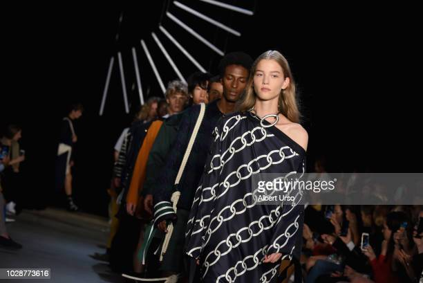 Models wall the runway for Monse during New York Fashion Week The Shows at SIR Stage 37 on September 7 2018 in New York City