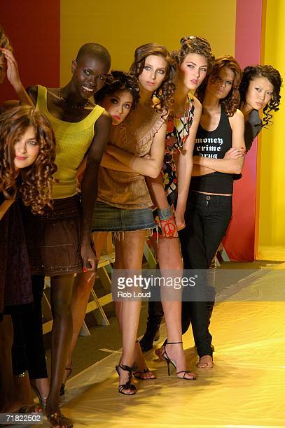 Models watch the practive on the runway before the Marc Bouwer Spring 2007 fashion show during Olympus Fashion Week at the Atelier tent in Bryant...
