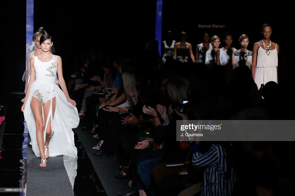 Models wear Bianca Warren 2013 during the Bianca Warren 2013 runway show on Day 3 of South Africa Fashion Week on April 13, 2013 in Johannesburg, South Africa.
