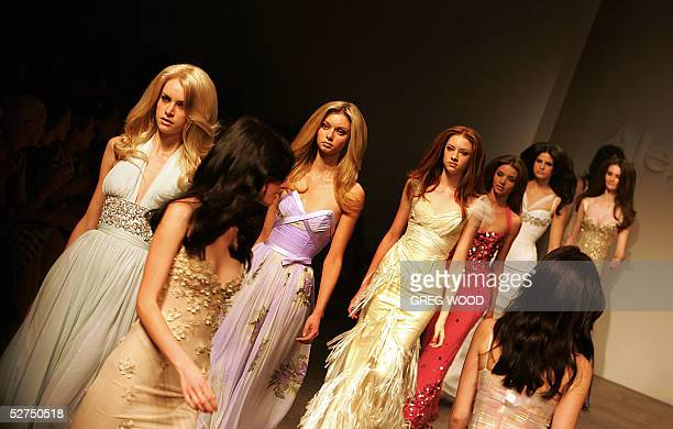 Models wear creations by Australian designer Alex Perry during one of Australian fashion week's SpringSummer collection shows in Sydney 03 May 2005...