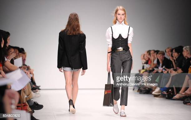 Models wear creations by Peter Jensen during London Fashion Week at the Topshop Venue P3 University of Westminster 35 Marylebone Road NW1 5LS