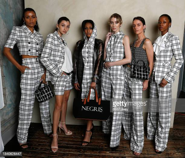 Models wear designs by Negris LeBrum SS22 for NYFW on September 15, 2021 in Houston, Texas.