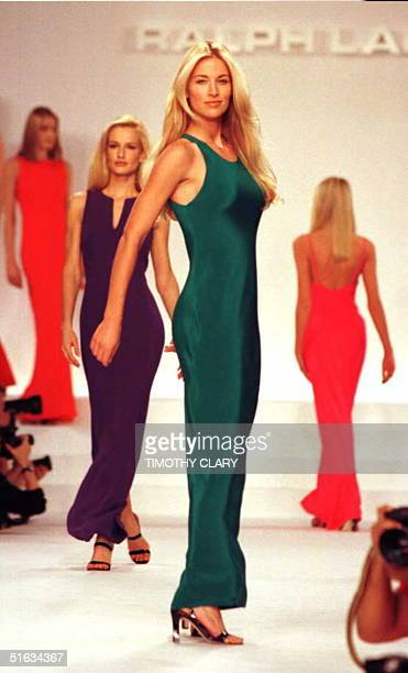 Models wear long multicolored evening gowns 01 November during the showing of Ralph Lauren's 1996 Spring/Summer fashions in New York AFP PHOTO...