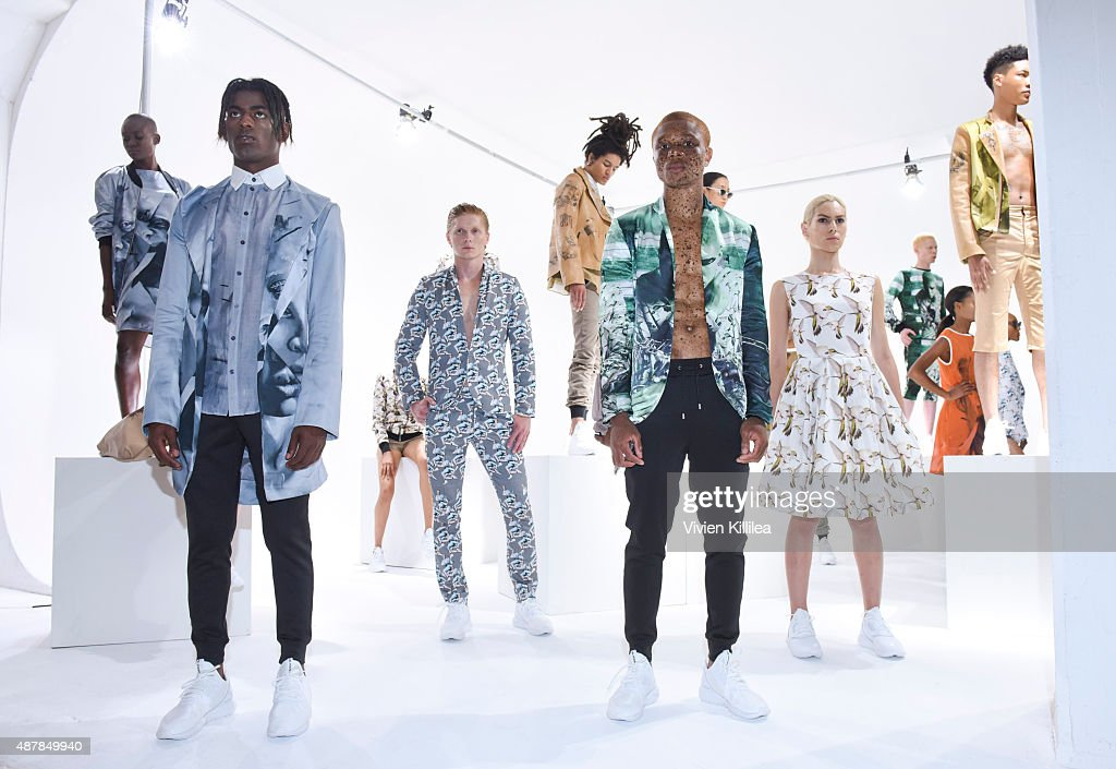 Models wear Mr. Shaun Ross during the Mr. Shaun Ross Presentation at Spring 2016 New York Fashion Week at Splashlight Studios on September 11, 2015 in New York City.