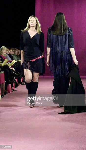 Models wear outfits from the Sizeappeal By Lori Fall/Winter 2002 collection March 6 2002 during the Curve Style Fashion Show in New York City