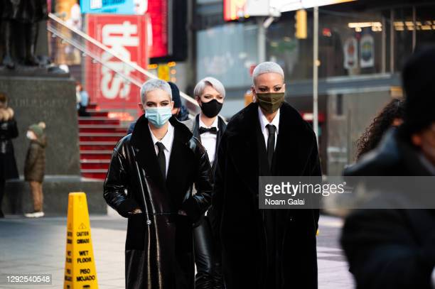 Models wear Sassoon's newest line of clothing in Times Square as the city continues the re-opening efforts following restrictions imposed to slow the...